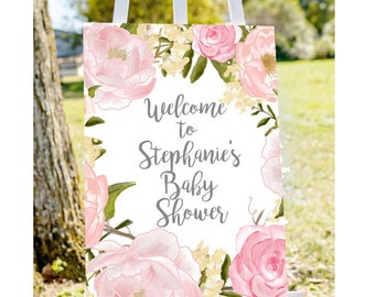 Baby shower welcome sign, Welcome to baby shower sign, pastel baby shower sign, girl baby shower sign, printable welcome sign, decorations
