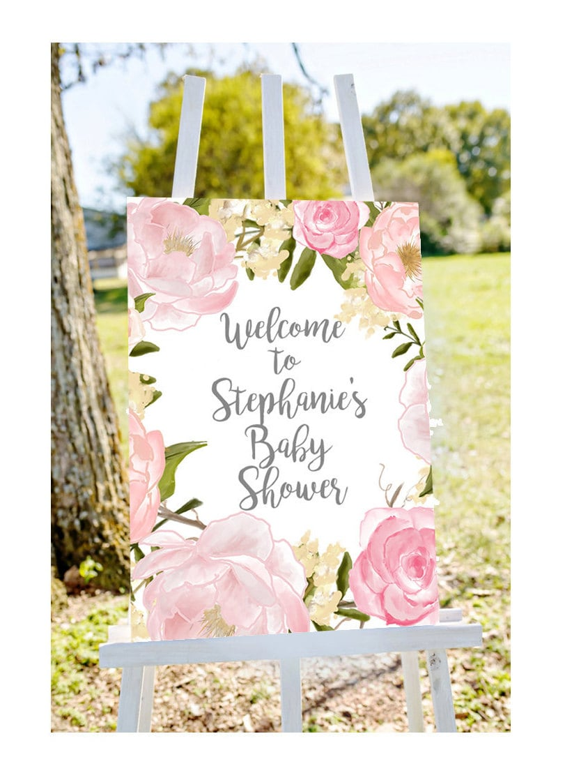 Baby shower welcome sign welcome to baby shower sign pastel for Baby shower ceiling decoration ideas