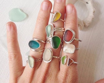 Custom Sea Glass Ring - Single Sea Glass Ring on Silver Band - Custom Made to Order