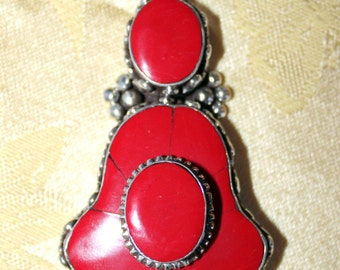 Sterling Silver and Red Coral Pendant