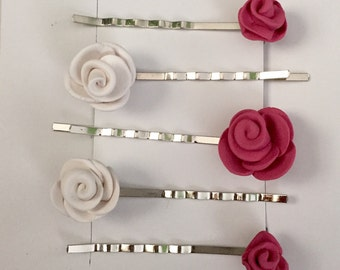 Pink & White Rose Bobby Pins Set of Five