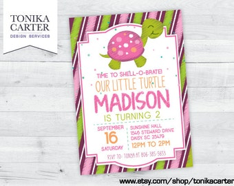 Pink Turtle Stripes Birthday Party Invitation (girl)
