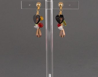 "Dangling Earring with heart and tear drop beads.Clip earrings with various colored beads:brown,black,red,green.""Heart"""