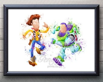 Disney Pixar Toy Story Woody and Buzz Lightyear Watercolor Poster Print - Watercolor Painting - Watercolor Art - Kids Decor- Nursery Decor