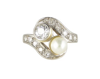Edwardian Engagement Ring, 0.50ct Diamond Pearl Ring, 15ct Yellow And White Gold, Toi Et Moi Ring, Antique Engagement Ring