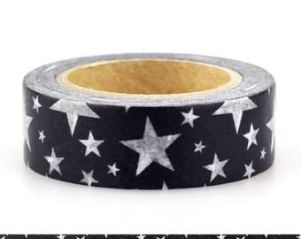 10m Black and White Stars Japanese Washi Tape, Black and White Masking Tape