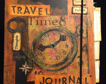 Altered Book: Travel Journal, Mixed Media Altered Book, Handmade Keepsake Travel Journal, Keepsake Journal, Earthy By Design