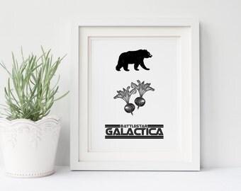 The Office TV Show Poster- Bears, Beets, Battlestar Galactica, Dwight Schrute, Jim Halpert, Michael Scott, Office Art, Gift for Him