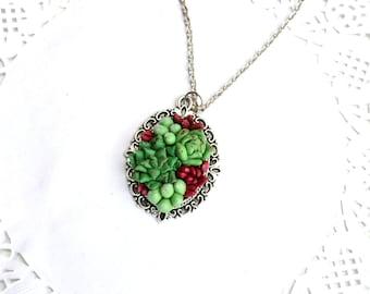 Succulent necklace pendant. Succulent jewelry. Planter necklace pendant jewelry. Rustic necklace jewelry