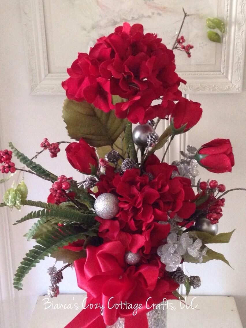 Christmas Floral Red Flower Arrangement Artificial Floral