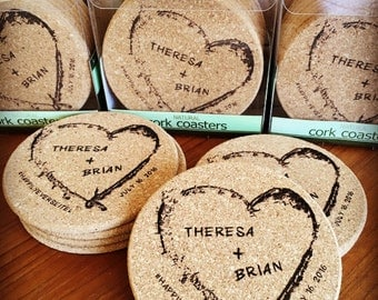 Cork Wedding Coasters, Personalized Customized Memento, Laser engraved/etched