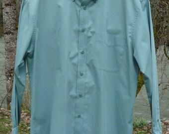 NORDSTROM L 17X35 green buttoned down collar L Nordstrom long sleeve green shirt Nordstrom Large green 17X35 dress shirt