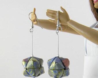 origami washi paper brillian geometrical earrings