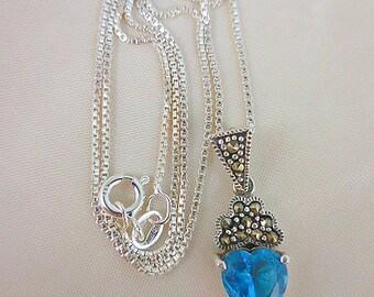 Blue Topaz Sterling Heart Pendant Necklace