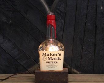 Maker's Mark Bourbon Bottle Lamp - Desk Lamp, Handmade Table Lamp, Upcycled Lighting, Office Furniture, Edison Bulb Lamp, Kentucky Whisky