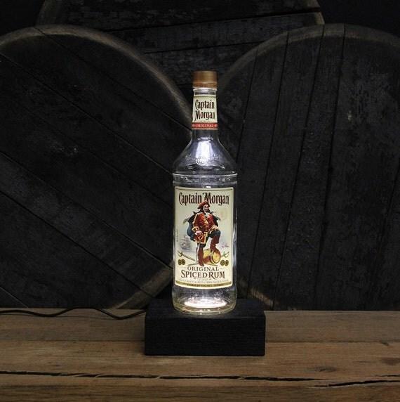 Captain Morgan Rum Bottle LED Light / Reclaimed Wood Base & LED Desk Lamp / Handmade Tabletop Lamp / Upcycled Liquor Rum Bottle Lighting
