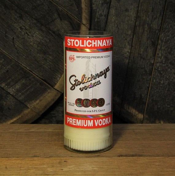 Stolichnaya Vodka Candle, Recycled Stoli Vodka Bottle Handmade Soy Candle, Recycled 1L Bottle 22oz Soy Wax, College Student Furninture Decor