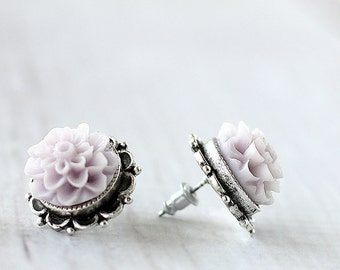 Dahlia Flower Earrings - Bridesmaids Flower Earrings - Lilac Flower Earrings - Flower Studs - Hypoallergenic Earrings - Silver Post Earrings
