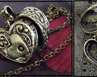 Antique Bronze Heart Box Locket With Treble Clef| Heart Box Necklace| Heart Locket| Music Box Locket| Music Box Necklace