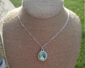 Crystal Necklace   Light Green Glass Crystal Necklace   Sea Green Crystal Necklace Pendant