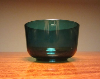 Mid Century blue/green glass bowl - 1950s