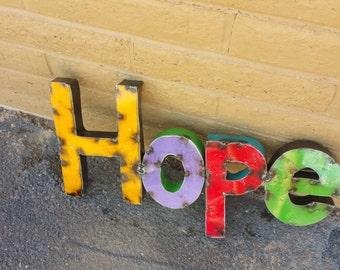 Rustic Metal Multi-Colored Hope Sign