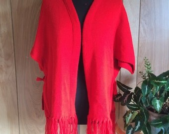 Vintage 1960's Red Knitted Shrug By Milrank One Size