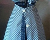 Two Piece Light Blue Gingham Pinup Outfit, Button Down Pinup Skirt, Tied Top, Rockabilly Outfit, 50's Pinup