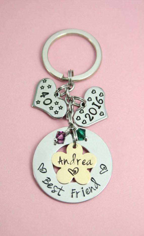 Personalised Best Friend Birthday Gift Keyring Key Ring