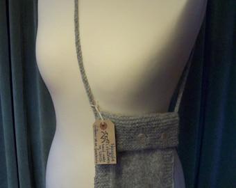 Felted shetland wool shoulder bag.