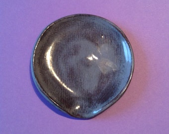 Rustic blue glaze SPOON REST handmade pottery ceramics 11cm