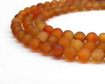 Natural Carnelian Beads, Matte Beads, Orange Carnelian, Carnelian Beads, Autumn Beads, Fall Beads Orange Beads Frosted Beads Orange Gemstone