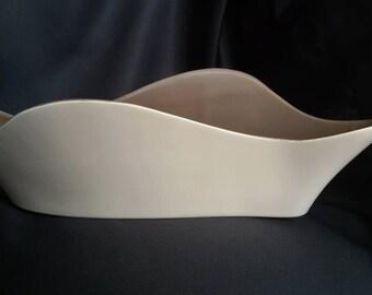 Poole Twintone Wavy Trough / Vase / Planter
