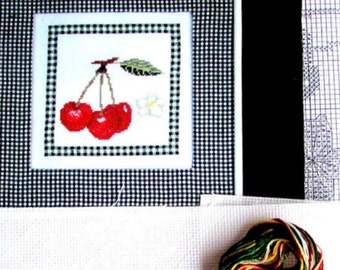 """CROSS STITCH KIT. """"Carrelage Aux Cerises"""" by Margot de Paris.A Vintage  Still Life of Botanical Cherries & Blossom.//Was (25.00) Now!"""