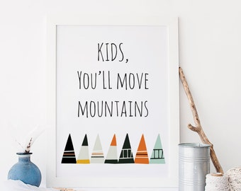 Kids You'll Move Mountains Dr. Suess Quote Nursery Wall Art Print Digital Wall Art Boys Room Whimsical Wall Art Blue Orange Theme