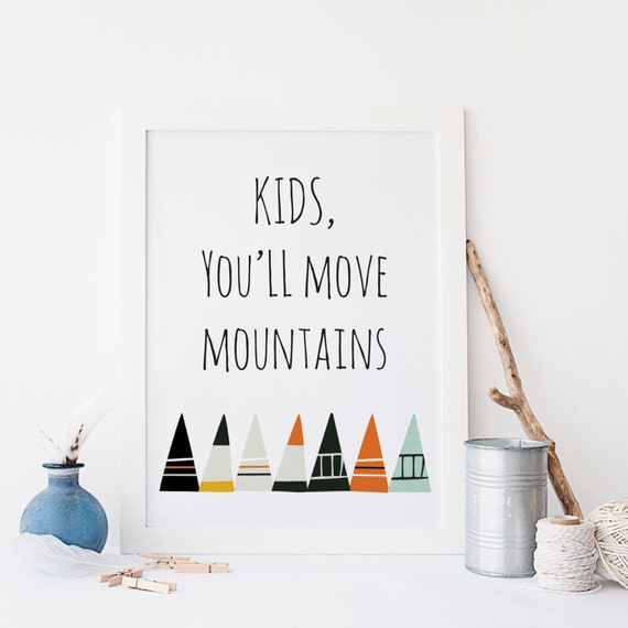 Dr Seuss Kid You Ll Move Mountains: Kids You'll Move Mountains Dr. Suess Quote Nursery Wall