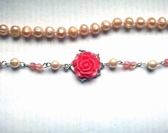 Pink Flower Bracelet floral pink bracelet beaded bracelet pink bead bracelet mom gift wife gift women gift gift women gift for her