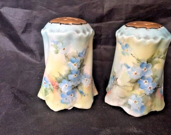 Vintage Early Nippon Salt & Pepper Shakers Hand Painted Flowers Victorian Art Nouveau Dining Vintage Home Decor