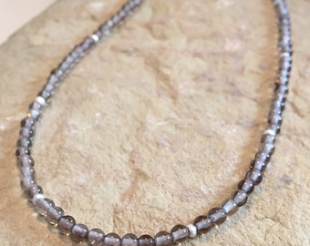 Gray necklace, labradorite necklace, Hill Tribe silver necklace, layering necklace, delicate necklace, sundance style necklace, gift for her