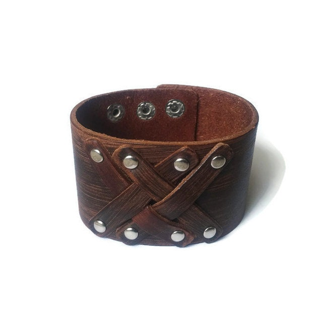 brown genuine leather cuff mens bracelet womens bracelet