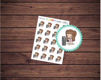 Watching TV Mi'Me Kawaii Chibi Girl Planner Stickers
