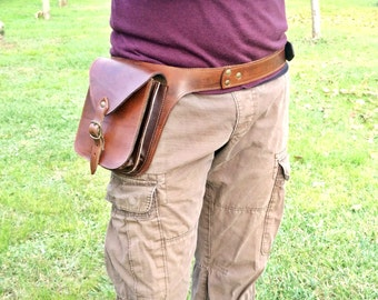 Men's leather pouch, Utility bag with two internal compartments. Comfortable, roomy and durable. Gift idea for those who are always on the move!