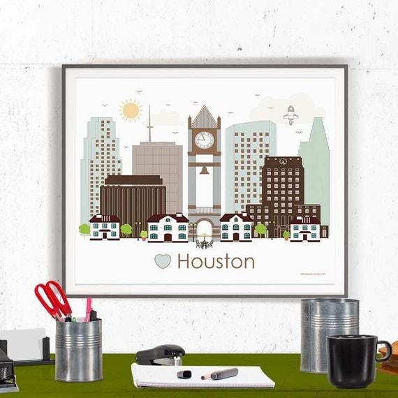 Houston Print Poster Wall Art Houston Texas By