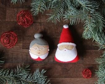Santa Claus ornament Mrs Claus ornament Felt Christmas ornament Santa ornaments Santa Claus Mrs Claus Felt Santa ornament Santa with wife