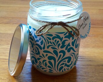 Beach Linen Candle - Natural Soy Candle - 13oz - turquoise swirl paper