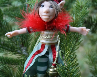 Cotton and polymer elf doll with red feather and bells - christmas elf gnome leprechaun