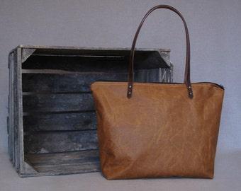 Waxed canvas tote bag, Shoulder bag, real leather, tote bag, oilskin bag