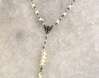 Gothic Vertebrae and Pearl Rosary