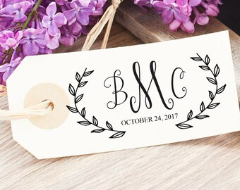 Wedding Monogram Stamp - Custom Wedding Logo Design - Wreath Wedding Logo - Personalized Wedding Stamp - Spring Wedding Favor Tag Stamp