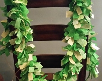St. Patrick's Day Rag Garland, Green Fabric Garland 6 ft, St. Patrick's Day Decoration